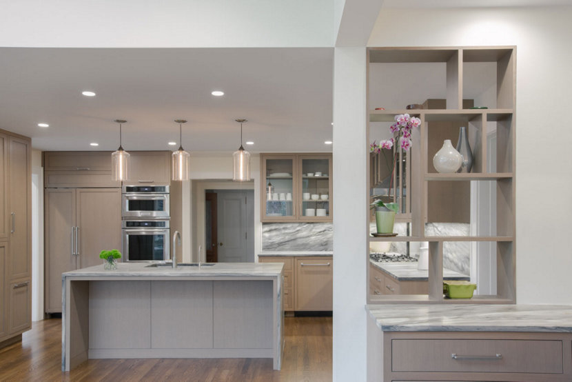 Clear Glass Pendant Lights Complement Cool Tones in Modern Kitch