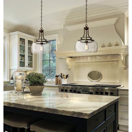 """Charleston 13 1/2"""" Wide Clear Glass and Bronze Pendant Light ."""