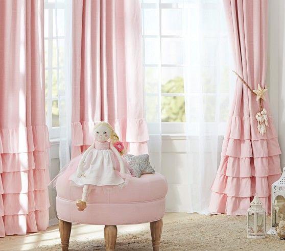 Evelyn Linen Blend Ruffle Bottom Blackout Curtain | Nursery .