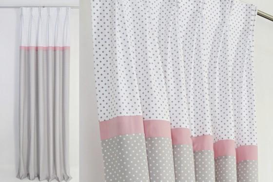 Pink and gray nursery curtai