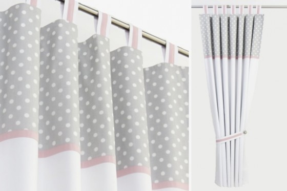 Grey Polka Dot and Pink Nursery Curtai