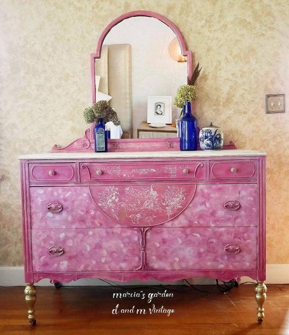 Antique 5 Drawer Pink White Handpainted Dresser Chest Mirror | Et