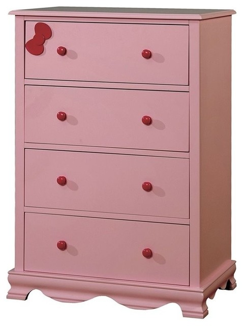 Furniture of America Poppy Contemporary 4-Drawer Chest in Pink .