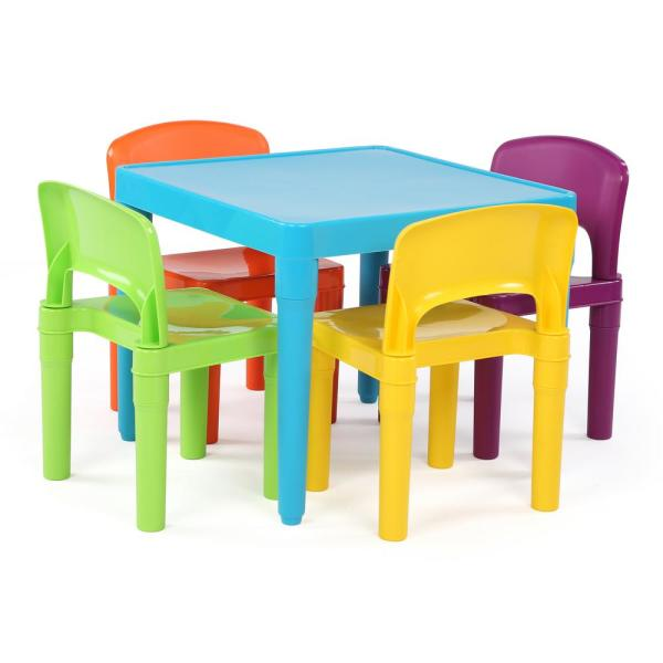 Tot Tutors Playtime 5-Piece Aqua Kids Plastic Table and Chair Set .