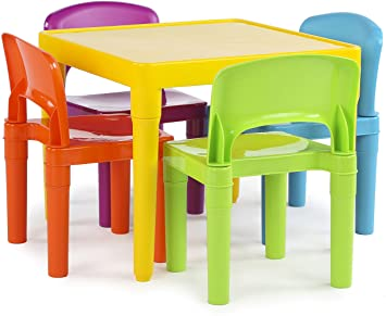 Amazon.com: Tot Tutors Kids Plastic Table and 4 Chairs Set .