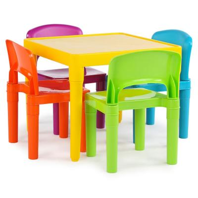 Tot Tutors Playtime 5-Piece Vibrant Colors Kids Table and Chair .