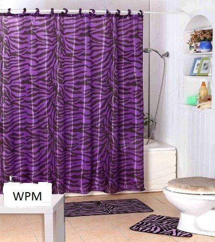 Complete Bath Accessory Set- Black Purple Zebra Animal Print Bath .