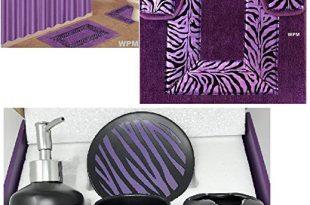 Amazon.com: 19 Piece Bath Accessory Set Purple Zebra Bathroom Rugs .