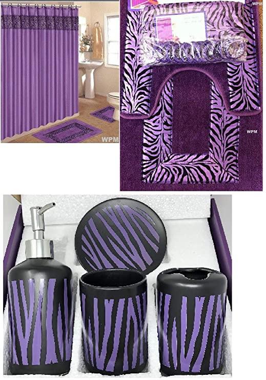 purple and black bathroom sets