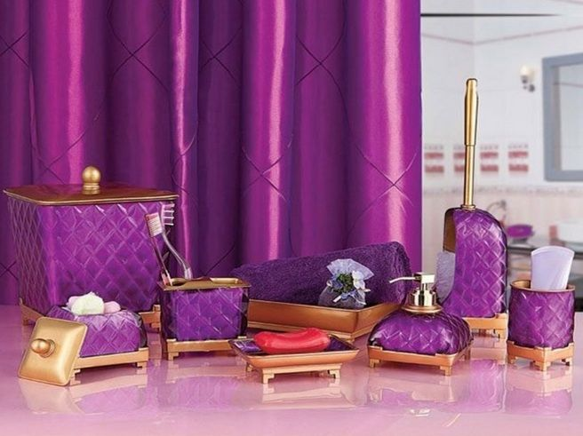 Gold and purple bathroom vanity accessories sets | Decolover.net .