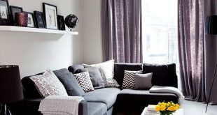 Grey traditional living room with purple soft furnishings   Living .