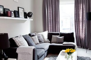 Grey traditional living room with purple soft furnishings | Living .