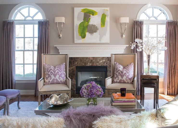Purple Curtains - Contemporary - living room - Susan Glick Interio