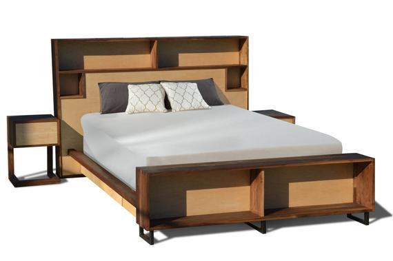 Walnut & Maple platform Bed Storage Headboard Charging   Et