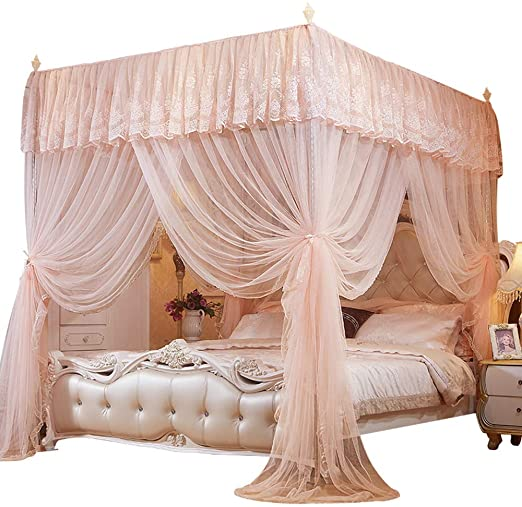 Amazon.com: Mengersi 4 Corner Poster Canopy Bed Curtains Bed .