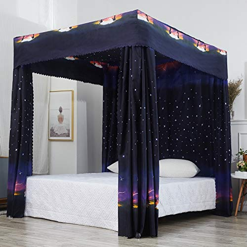 Amazon.com: Mengersi Galaxy Star Four Corner Post Bed Curtain .