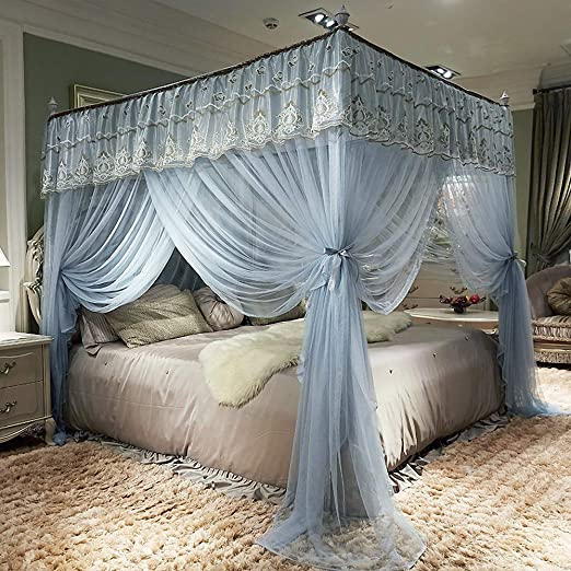 Amazon.com: JQWUPUP Elegant Bed Curtains Canopy, Embroidery Ruffle .