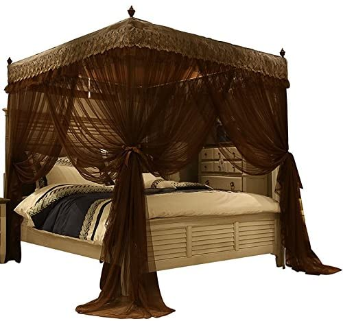 Amazon.com: Nattey 4 Corners Post Canopy Bed Curtain for Girls .