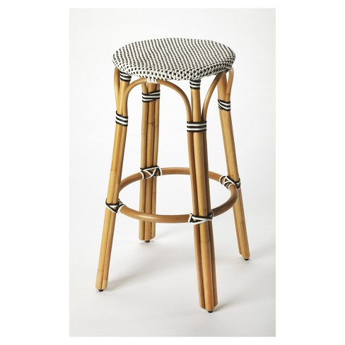 Tobias Rattan Bar Stool - Black / White - Butler Specialty : Targ