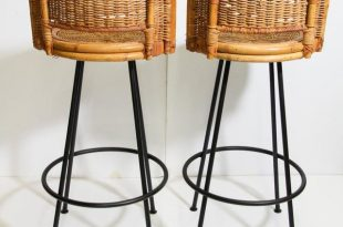 Incredible Vintage 1960s Swivel Woven Rattan Bar Stools - a Pair .