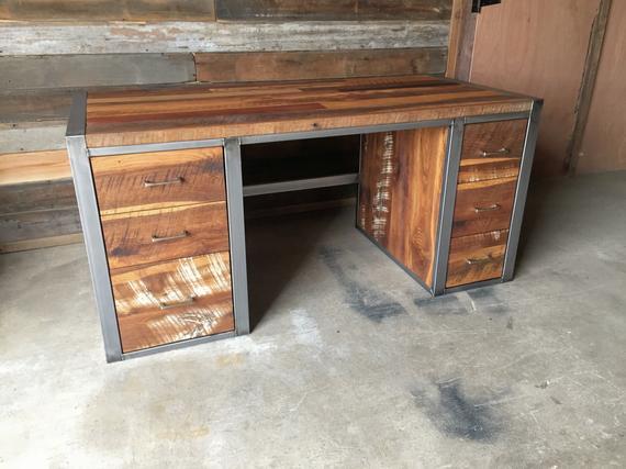 Industrial Modern Desk / Reclaimed Wood Desk | Et