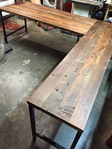 Amazon.com: L Shaped Desk Reclaimed Wood with Metal Base: Handma