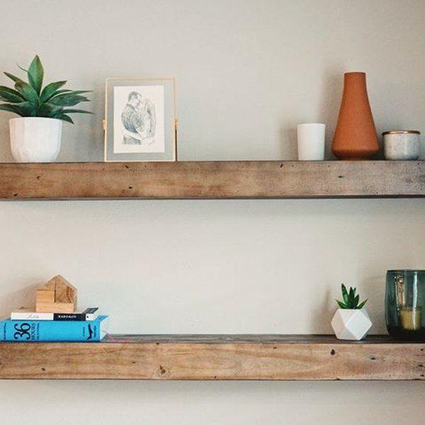 Reclaimed Wood Floating Shelf | Wood floating shelves, Floating .