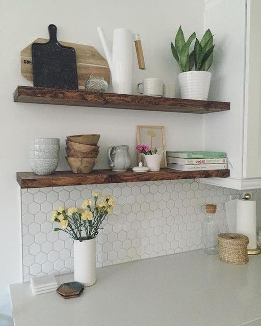 Reclaimed Wood Floating Shelf in 2020 | Home decor kitchen .
