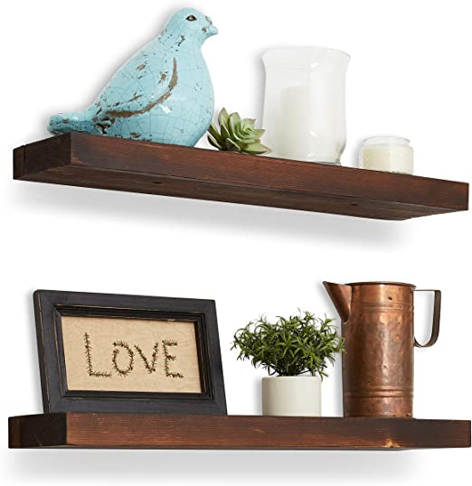 Amazon.com: Reclaimed Wood Floating Shelves - 24x5.5x1.5 inches .