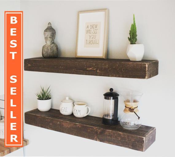 Fast Easy Mount Wood Floating Shelves Reclaimed Wood Shelf | Et