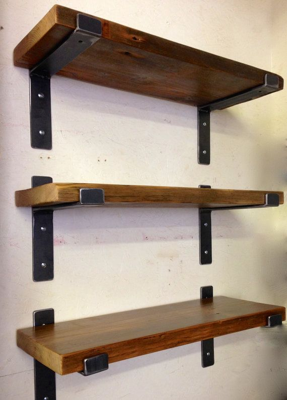 "Handcrafted Metal Shelf Brackets and 36"" x 11"" Reclaimed Wood ."