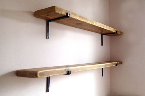 "9"" deep Reclaimed Wood Shelves with 2 Iron Brackets included. Wood ."