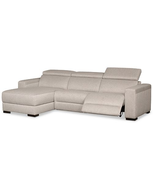 Furniture Nevio 3-Pc. Fabric Sectional Sofa with Chaise, 1 Power .