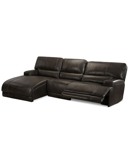 Furniture CLOSEOUT! Warrin 3-pc Leather Sectional Sofa with Chaise .