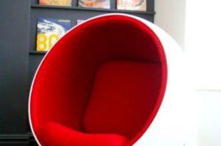 STUNNING** Eero Aarnio Ball Pod Egg Chair Armchair White Red Eames .