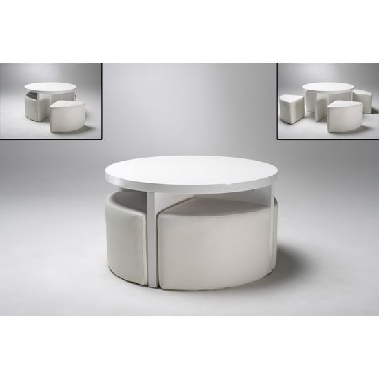 Round Gloss White Coffee Table + 4 Stools, 5075-11.11 - Wooden .