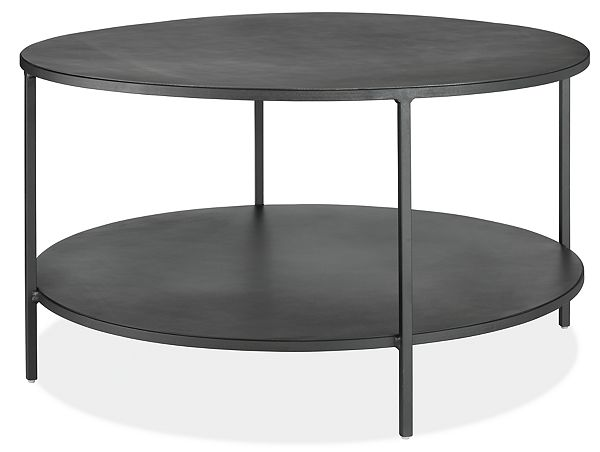 Slim Round Coffee Table in Natural Steel - Sleek Steel Storage .