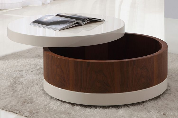 Round Coffee Table with Storage | Coffee table small round, Coffee .