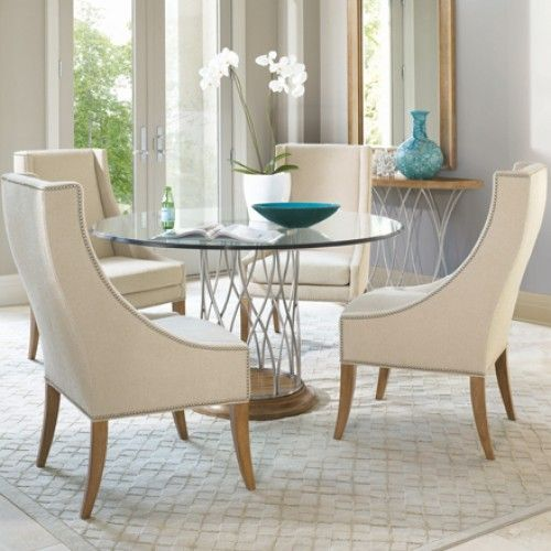 Round Glass Dining Table With Four Chairs In Silver Oak | Glass .