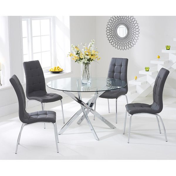 Crovetti Dining Set with 4 Chairs | Gray dining chairs, Glass .