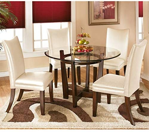 Amazon.com: Ashley Furniture Charrell 5 Piece Glass Round Dining .