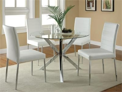 Modern chrome and glass dining table set #modern | Glass round .