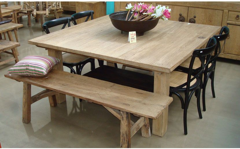 Square table with bench | Square kitchen tables, Square wood .