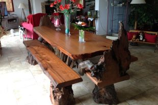 Rustic Live Edge Redwood Dining Table with Rustic Chairs and .