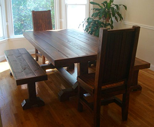 Amazon.com: Rustic Trestle Table Set w/ 2 benches and 2 chairs .