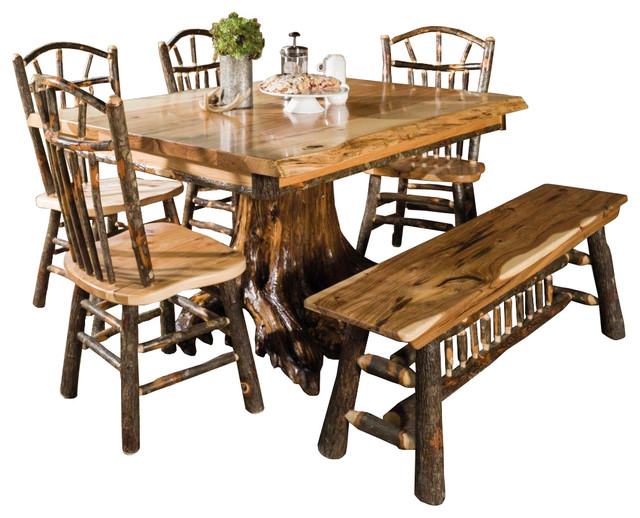 Rustic Rectangle Live Edge Stump Dining Table With Chairs and .