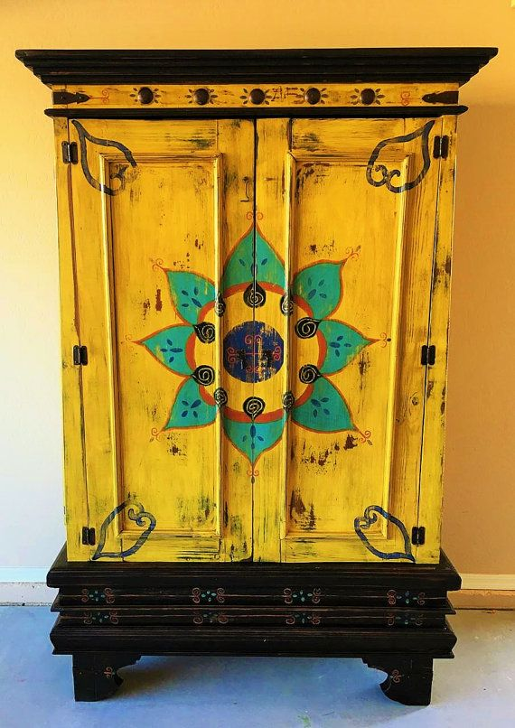 Beautiful Hand Painted Mexican Cabinet by VagabondStudioSW on Etsy .
