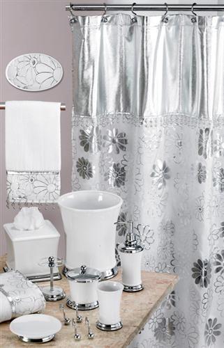 Phoenix White & Silver Bath Accessory Set | Silver bathroom .