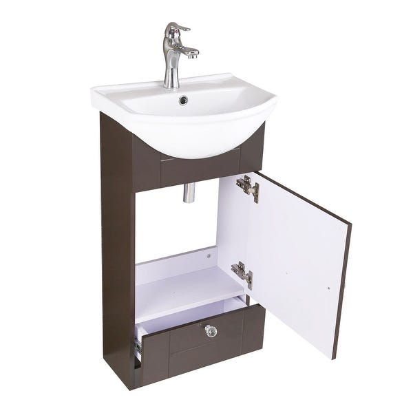 Shop Small Single Sink Bathroom Vanity Cabinet White & Brown - On .