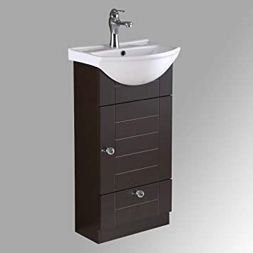 Small Bathroom Cabinet Vanity Sink Dark Oak Faucet And Drain Space .